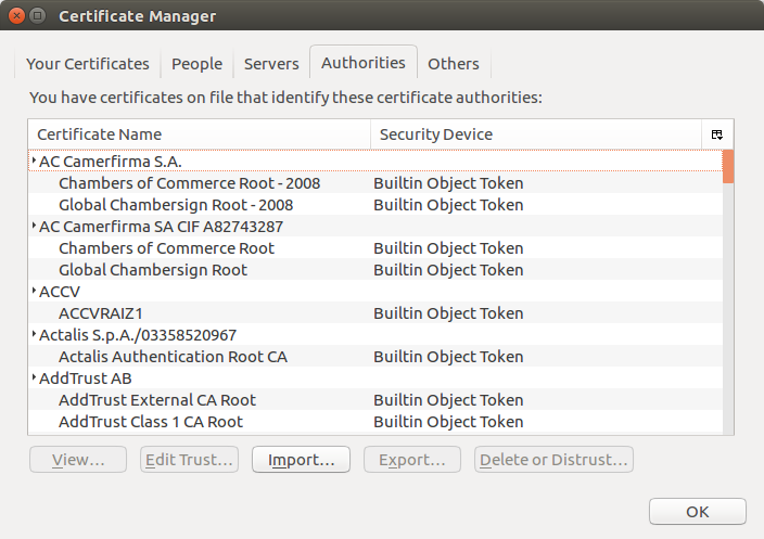 firefox certificate store for builtin authorities