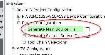 Disable main file generation