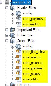 Include Coremark Source files