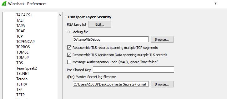 Log file menu and options